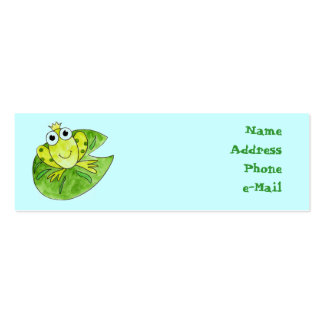 Frog Prince on Lily Pad Profile Card Pack Of Skinny Business Cards