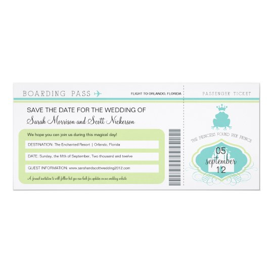 Frog Prince Save the Date Boarding Pass Card