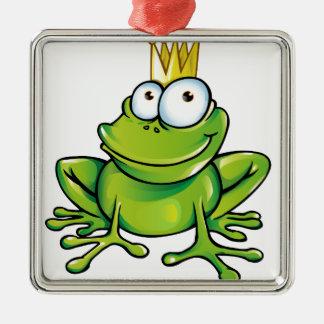 frog prince Silver-Colored square decoration
