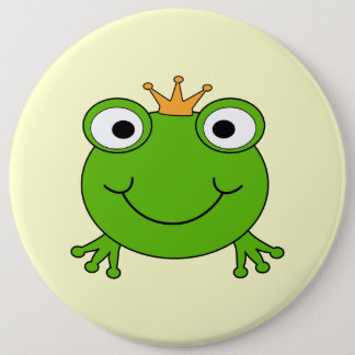 Frog Prince. Smiling Frog with a Crown. 6 Cm Round Badge