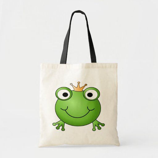 Frog Prince. Smiling Frog with a Crown. Bag