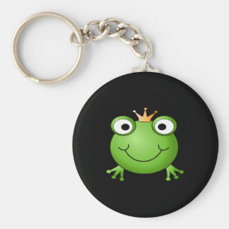 Frog Prince. Smiling Frog with a Crown. Basic Round Button Key Ring