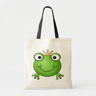 Frog Prince. Smiling Frog with a Crown. Budget Tote Bag