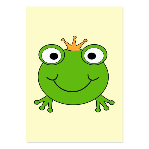 Frog Prince. Smiling Frog with a Crown. Business Cards
