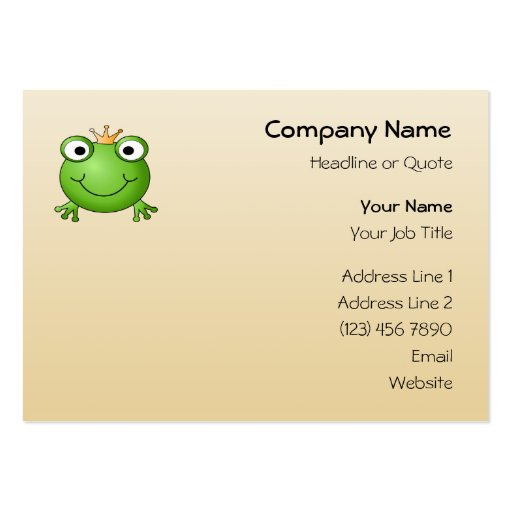 Frog Prince. Smiling Frog with a Crown. Business Card Templates