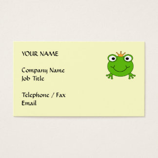 Frog Prince. Smiling Frog with a Crown. Business Card