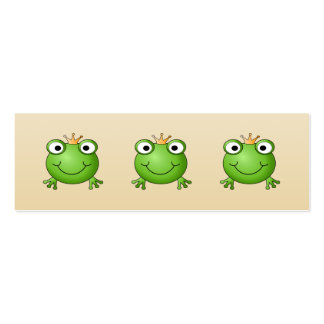 Frog Prince. Smiling Frog with a Crown. Double-Sided Mini Business Cards (Pack Of 20)