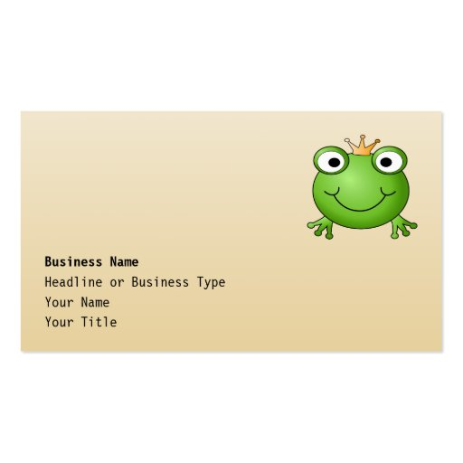 Frog Prince. Smiling Frog with a Crown. Business Card Template