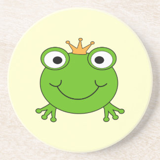 Frog Prince. Smiling Frog with a Crown. Coaster