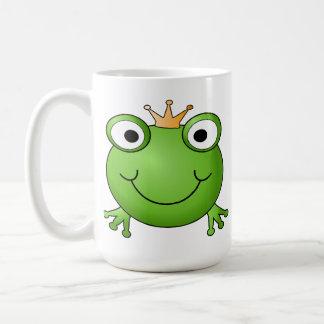 Frog Prince. Smiling Frog with a Crown. Coffee Mug