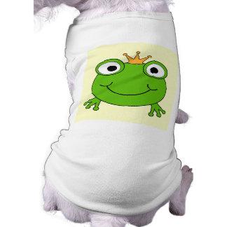 Frog Prince. Smiling Frog with a Crown. Sleeveless Dog Shirt