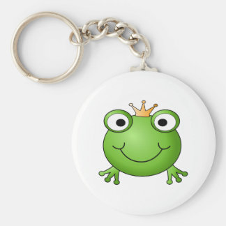 Frog Prince. Smiling Frog with a Crown. Key Ring