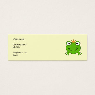 Frog Prince. Smiling Frog with a Crown. Mini Business Card