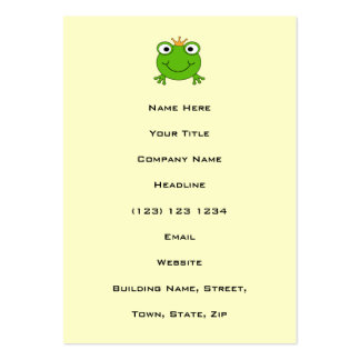 Frog Prince. Smiling Frog with a Crown. Pack Of Chubby Business Cards