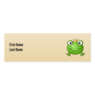 Frog Prince. Smiling Frog with a Crown. Pack Of Skinny Business Cards