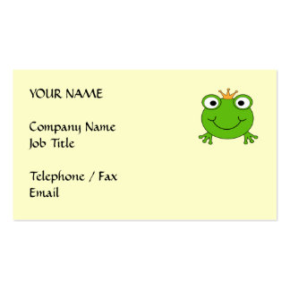 Frog Prince. Smiling Frog with a Crown. Pack Of Standard Business Cards