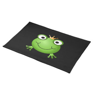 Frog Prince. Smiling Frog with a Crown. Placemat