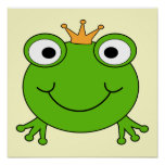 Frog Prince. Smiling Frog with a Crown. Poster