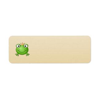 Frog Prince. Smiling Frog with a Crown. Return Address Label