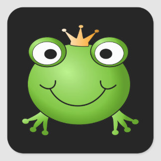 Frog Prince. Smiling Frog with a Crown. Square Sticker