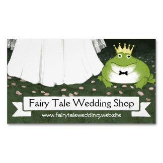 Frog Prince with Bride   Fairy Tale Wedding Magnetic Business Cards