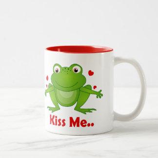 frog prince with kiss me text mugs