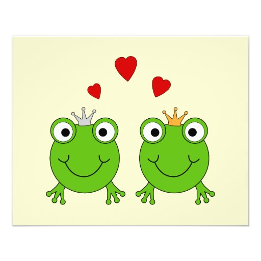 Frog Princess and Frog Prince, with hearts. 11.5 Cm X 14 Cm Flyer