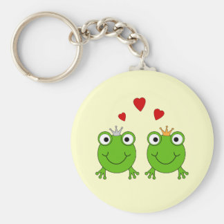 Frog Princess and Frog Prince, with hearts. Basic Round Button Key Ring