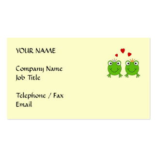 Frog Princess and Frog Prince, with hearts. Double-Sided Standard Business Cards (Pack Of 100)