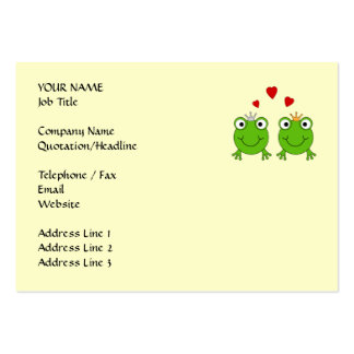 Frog Princess and Frog Prince, with hearts. Large Business Cards (Pack Of 100)