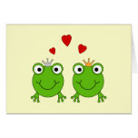 Frog Princess and Frog Prince, with hearts. Card