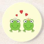 Frog Princess and Frog Prince, with hearts. Coaster