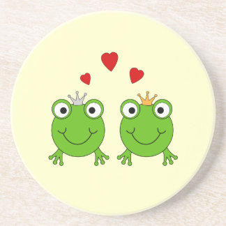 Frog Princess and Frog Prince, with hearts. Coaster