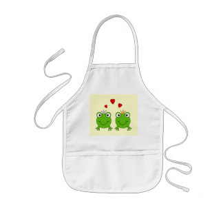 Frog Princess and Frog Prince, with hearts. Kids Apron