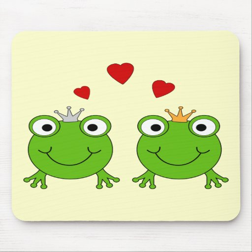 Frog Princess and Frog Prince, with hearts. Mouse Pads