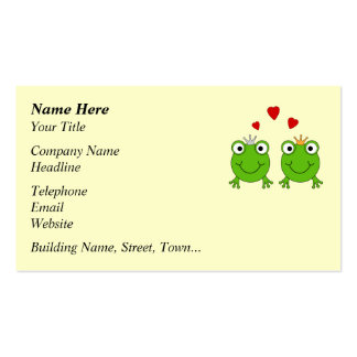 Frog Princess and Frog Prince, with hearts. Pack Of Standard Business Cards