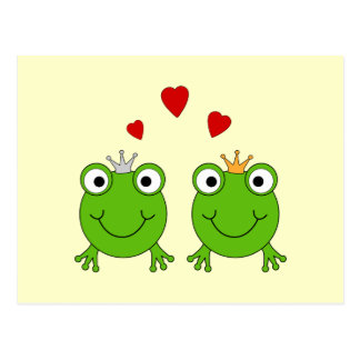 Frog Princess and Frog Prince, with hearts. Postcard