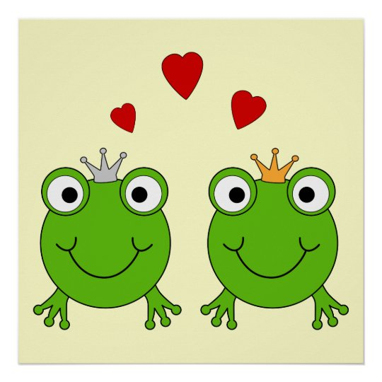 Frog Princess and Frog Prince, with hearts. Poster