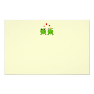 Frog Princess and Frog Prince, with hearts. Stationery