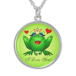 Frog Princess I Love You Green Cartoon Frog Hearts Round Pendant Necklace