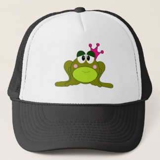 Frog Princess With Pink Crown Cartoon Trucker Hat