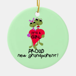 Frog Proud Grandparent of Girl Gifts Round Ceramic Decoration