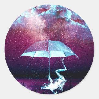 Frog Rain Umbrella Animals Classic Round Sticker