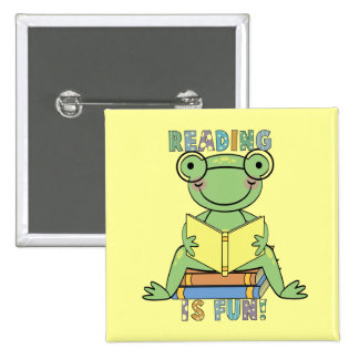 Frog - Reading is Fun Tshirts and Gifts 15 Cm Square Badge