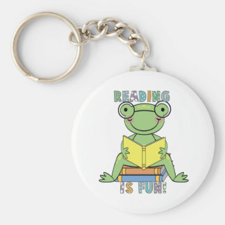 Frog - Reading is Fun Tshirts and Gifts Basic Round Button Key Ring