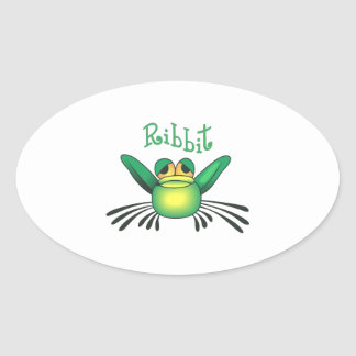 FROG RIBBIT OVAL STICKERS