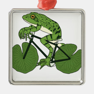 Frog Riding Bike With Lily Pad Wheels Christmas Ornament
