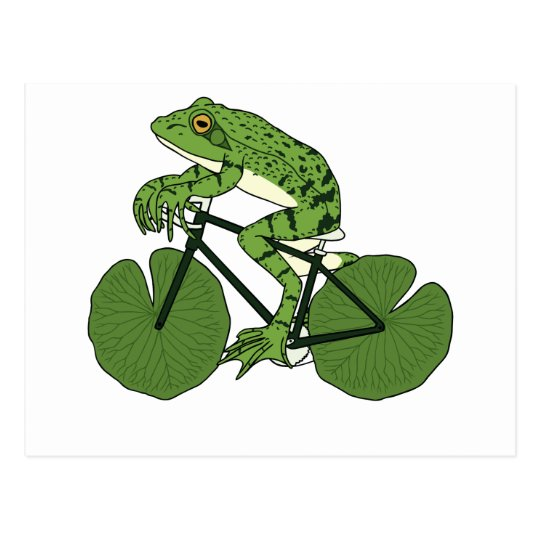 Frog Riding Bike With Lily Pad Wheels Postcard