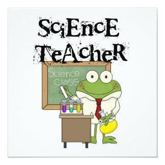 "Frog Science Teacher 5.25"" Square Invitation Card"