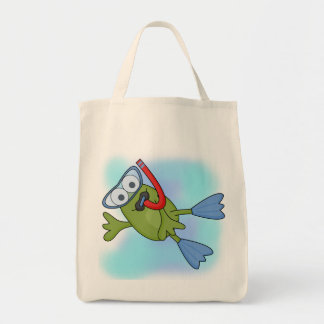 Frog Snorkeler T-shirts and Gifts Grocery Tote Bag